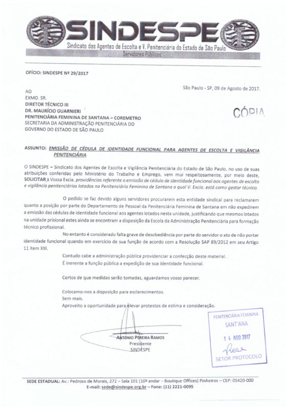OFÍCIO 029-2017 (EMISSÃO DE CÉDULA DE IDENTIDADE FUNCIONAL PARA AEVP)-1