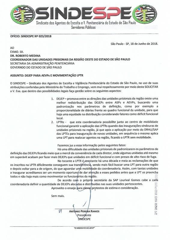Oficio Sindespe 023-2018 - CRO Dejep