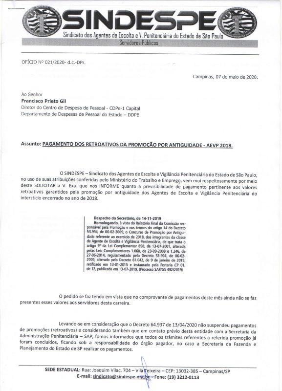 Ofício 21-2020- Francisco Prieto Gil CDPe-1 - DDPE - Sefaz - pagamento promoção por antiguidade AEVP 2018 pag1